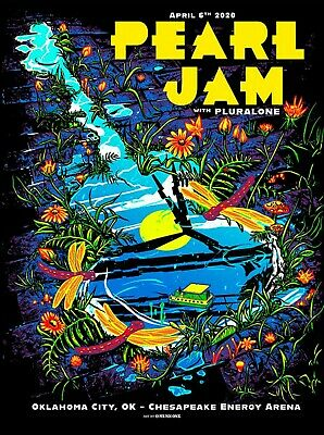 Pearl Jam Poster - 2020 Oklahoma City Poster MUNK ONE Show Edition *RARE* • 54.95£