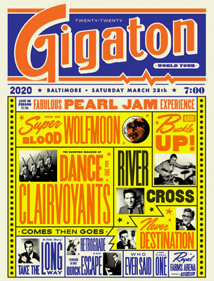 Pearl Jam - 2020 Baltimore Poster Ames Bros - Show Edition *RARE / SOLD OUT* • 59.99£