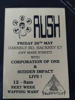 Acid House Rave Flyers Flyer 1989 Rush Pasha Tranquillity Early 89 Vgc • 4£