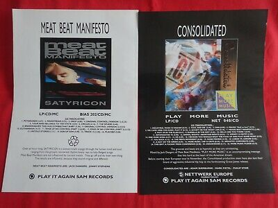 2xA4 Marketing Posters CONSOLIDATED Play More Music MEAT BEAT MANIFESTO Satyrico • 1.49£