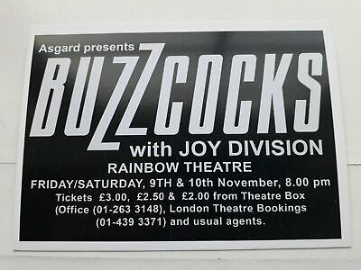 The Buzzcocks / Joy Division Poster The Rainbow 1979  A3 Size + Free Postcard  • 6.49£