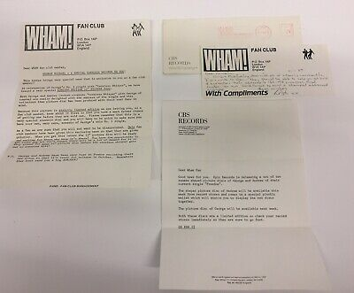Wham Official Fan Club Letter From CBS Records Dated 1984 Great Fan Collectable  • 200£