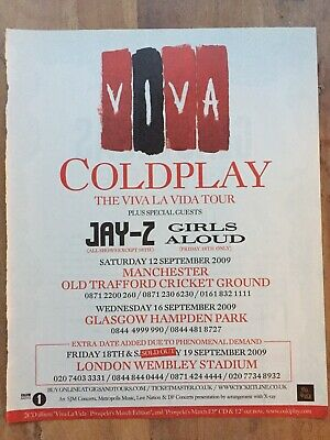 Coldplay - Original NME Full Page Magazine Tour Advert 2009 Small Poster Jay-Z • 1.99£