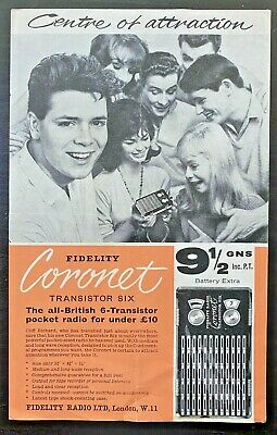 Vintage Cliff Richard Leaflet For Fidelity Transister Radio Early 60s? RARE • 15£