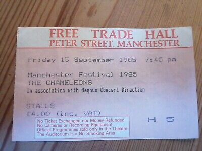 The Chameleons Ticket Stub Manchester Free Trade Hall September 1985.  • 25£