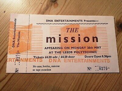 The Mission Ticket Stub Leeds Polytechnic  May 1986 • 10£