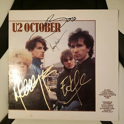 U2 Signed Vinyl Album OCTOBER By 4 Artists • 127.50£
