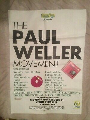 The Paul Weller Movement Italian Tour Poster Large Very Rare Modern Works Stock • 200£