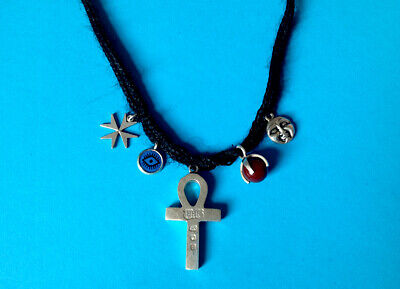 TOYAH – Great Frog Silver Ankh & Other Charm Necklace Eighties Punk Pop • 360£