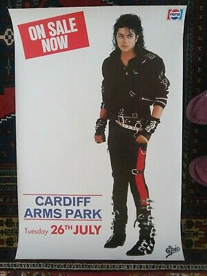 Michael Jackson 1988 Rare Original Concert Poster,cardiff Arms Park,bad Tour,uk. • 110£