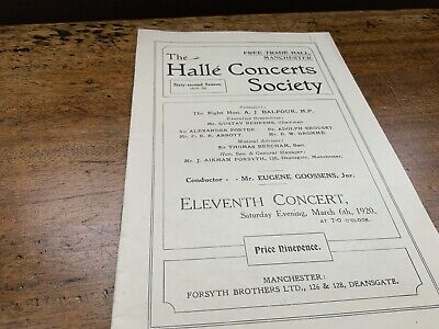 Halle Concert Programme Dated 1920 • 2£