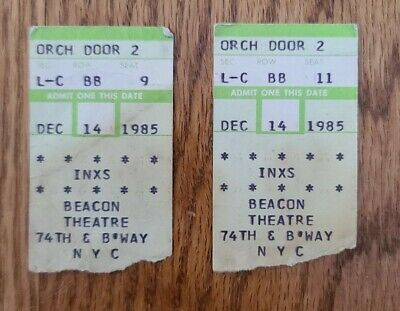 Inxs - Beacon Theatre Nyc - 2 Concert Ticket Stubs December 14, 1985 Hutchence  • 14.30£