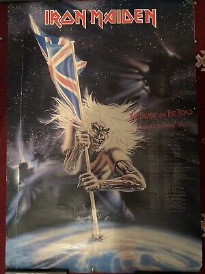 Iron Maiden Beast On The Road Huge Tour Poster With Dates 1982 Mega Rare • 150£