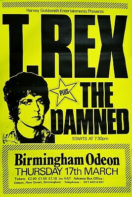 T-REX & The DAMNED 1977 Birmingham Odeon Original Promo Dayglo Poster Excellent • 595£