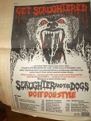 Slaughter And The Dogs NME Full Page Tour Dates Ad 1978,punk Original • 15£