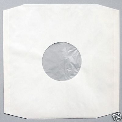 100 12  Polylined White Paper Antistatic Record Sleeves + Free Del • 21.95£