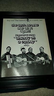 The Irish Rovers Whiskey On A Sunday Rare Original Promo Poster Ad Framed!  • 35.97£
