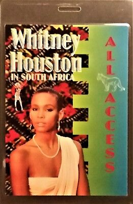 *** Whitney Houston ***  Laminated Backstage Pass - In South Africa - All Access • 16.14£