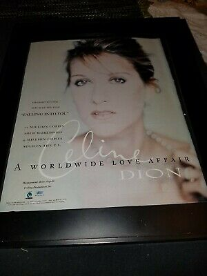 Celine Dion Falling Into You Rare Original Promo Poster Ad Framed! • 42.23£