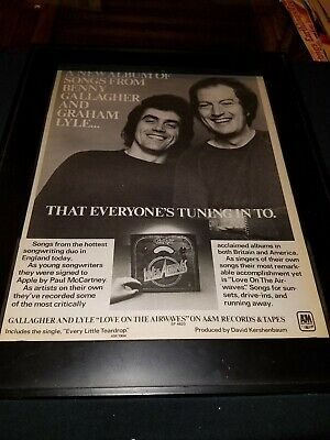 Gallagher And Lyle Love On The Airwaves Rare Original Promo Poster Ad Framed! • 34.70£