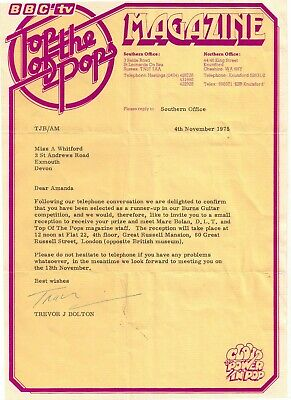 Rare 1975 Top Of The Pops Letter With Envelope & Compliment Slip Marc Bolan Dlt  • 89.99£