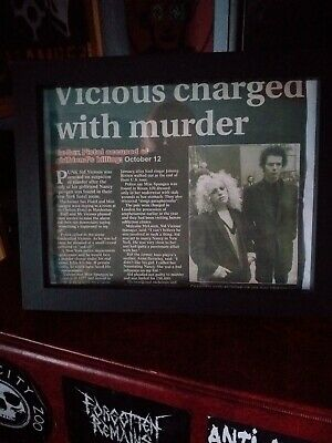 Sid Vicious Framed Original Newspaper Cutting Sex Pistols Murder Charge Punk... • 18£