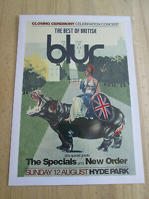Blur : The Best Of British 12 August Hyde Park :  A4 Glossy Repo Poster • 3.99£