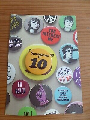 SUPERGRASS - Rare Official  Supergrass Is 10  Best Of 94-04 Badge And Promo Card • 1.99£