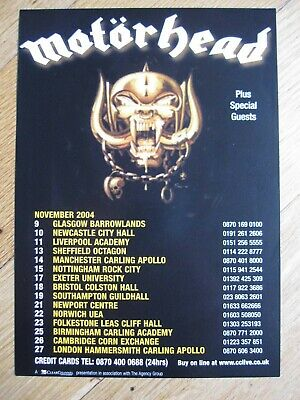 MOTORHEAD - Original UK Tour Flyer November 2004 - NEW - Supported By Sepultura • 1.99£