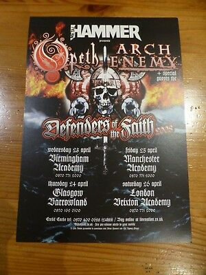 OPETH / ARCH ENEMY Rare UK Tour Flyer - Defenders Of The Faith 2008 • 1.49£