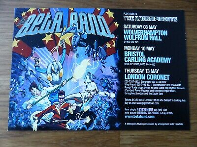 THE BETA BAND - Official UK Tour Flyer May 2004 - From Heroes To Zeroes - NEW • 0.99£