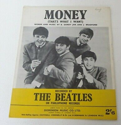 THE BEATLES MONEY [That's What I Want] Original Dominion Music SHEET MUSIC 1963 • 5.50£