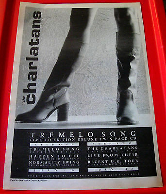 The Charlatans Tremelo Song Vintage ORIGINAL 1992 Press/Mag ADVERT Poster-Size • 2.99£
