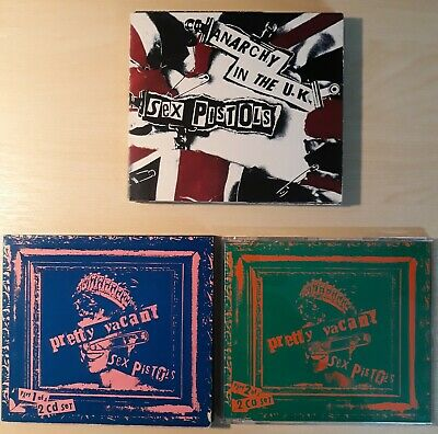 Sex Pistols ... 3 Cd Singles Anarchy In The Uk, Pretty Vacant + Rare Poster Pack • 12£