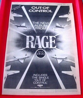 Rage Out Of Control Vintage ORIGINAL 1981 Press/Magazine ADVERT Poster-Size • 2.99£
