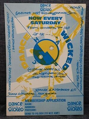 RARE Dance Wicked Rave Flyer, October 1989, At 66 Goding St London, A5 Flyers 89 • 1.99£