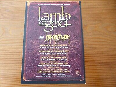 LAMB OF GOD - Rare UK Tour Flyer February 2010 - Supported By Job For A Cowboy • 0.99£