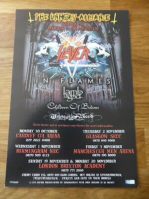 SLAYER - Unholy Alliance UK Tour Flyer 2006 - With In Flames & Lamb Of God - NEW • 1.99£