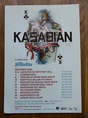 KASABIAN - Rare Official Flyer UK Tour Dec 2006 Supported By The Fratellis - NEW • 1.99£