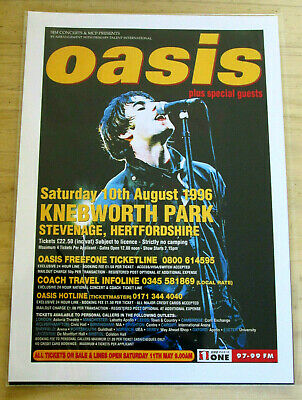 Oasis: Knebworth Park 1996  : A4 Glossy Repoduction Poster • 3.99£