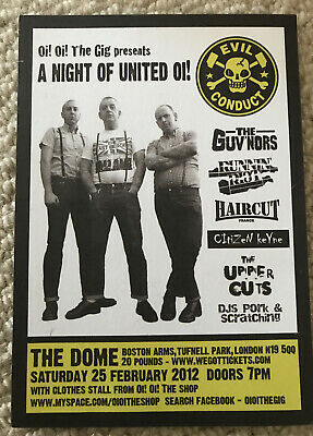 Evil Conduct Card Gig Flyer Punk Oi 6 X 4 Inches Skinhead • 1£