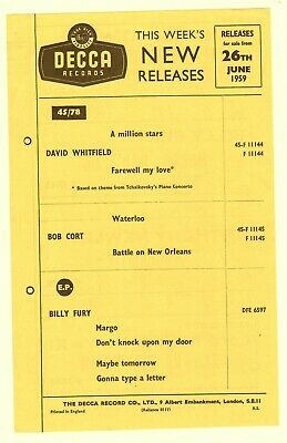 DECCA RECORDS This Weeks New Releases Flyer 1959 WHITFIELD CORT FURY • 12£