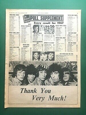 Orig 1967 NEW MUSICAL EXPRESS Poll Supplement - ROLLING STONES Win UK R&B Group  • 4.95£
