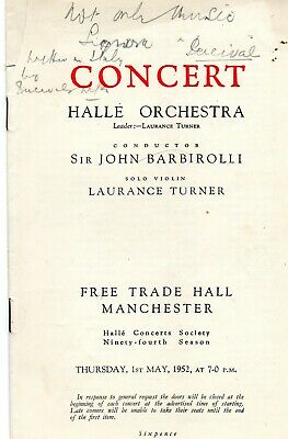 Manchester Free Trade Hall. Halle Orchestra 1952 Concert Programme.  • 1.50£