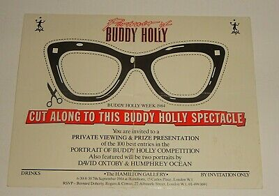 PAUL McCARTNEY Signed PORTRAIT OF BUDDY HOLLY 7th Sept.1984 PRIVATE INVITATION • 1.24£