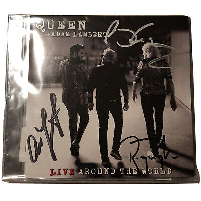 QUEEN And ADAM LAMBERT Live Around The World SIGNED CD Sleave + CD + Cassette • 165£