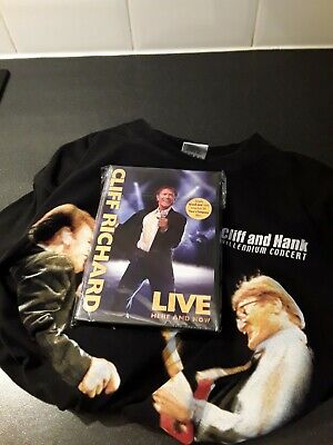 Cliff Richard Hank Marvin Tour T-shirt Black Large + Live Here And Now Dvd 2006 • 14.99£
