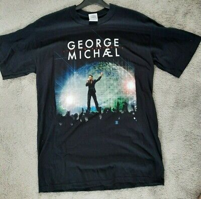 RARE GEORGE MICHAEL 25 LIVE TOUR TSHIRT AUS 2010 Size M Black With Dates On Back • 22£