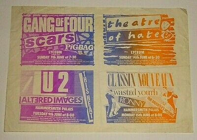 Artists Proof LONDON GIG ADVERTS JUNE 1981 Gang Of Four Scars U2 Theatre Of Hate • 9.50£