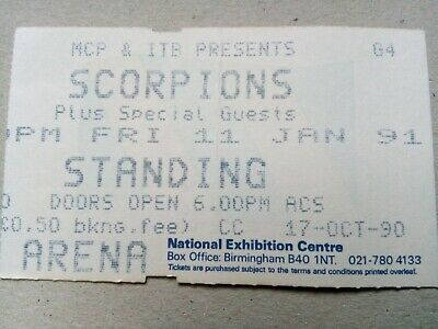 Scorpions Used Concert Ticket. NEC, Birmingham. Fri 11 Jan 1991. • 0.99£